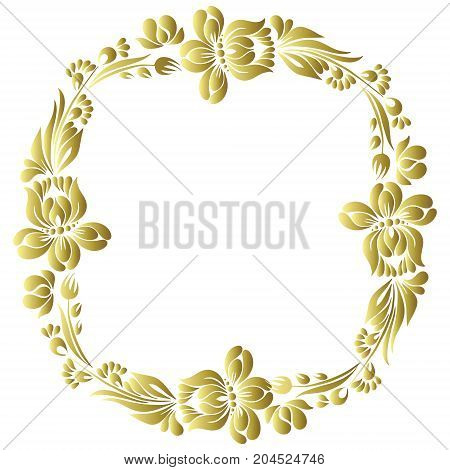 vector gold pattern with flowers, an ethnic Ukrainian ornament, Decorative frame for design