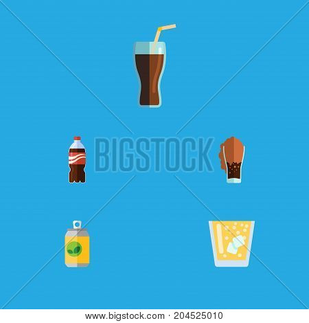Flat Icon Beverage Set Of Lemonade, Beverage, Soda And Other Vector Objects