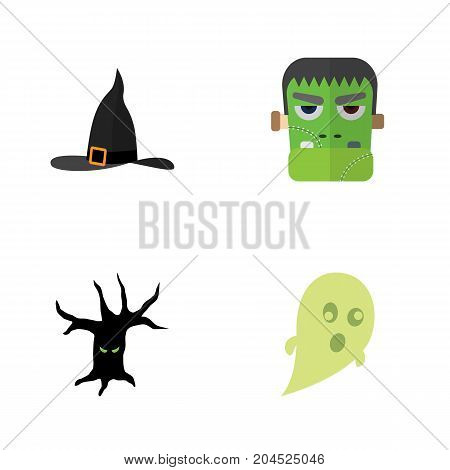 Flat Icon Festival Set Of Phantom, Monster, Terrible Halloween And Other Vector Objects