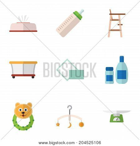 Flat Icon Baby Set Of Tissue, Napkin, Cream With Lotion And Other Vector Objects