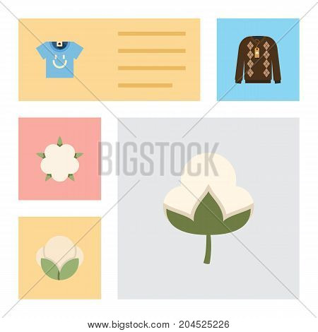 Flat Icon Fiber Set Of Fiber, Pullover, Bud And Other Vector Objects