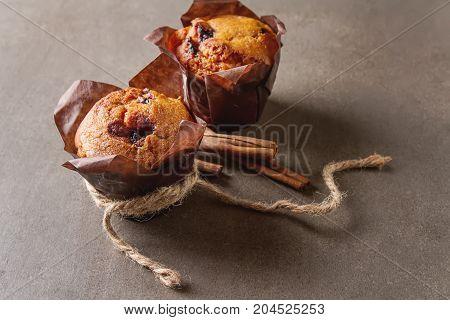 Blueberry Muffins And Fresh Berries. Tasty Dessert. Light Breakf
