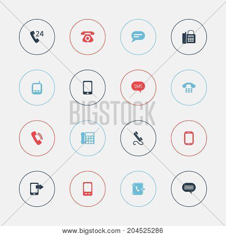 Set Of 16 Editable Phone Icons. Includes Symbols Such As 24 Hour Servicing, Share Display, Comment And More