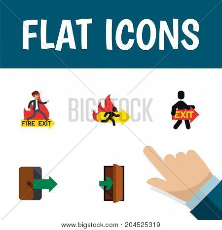 Flat Icon Door Set Of Emergency, Entrance, Directional And Other Vector Objects