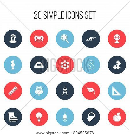 Set Of 20 Editable Education Icons. Includes Symbols Such As Handglass, Semicircle Ruler, Fresh Fruit