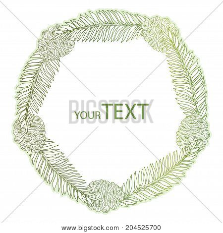 Vector round wreath with outline Sequoia or California redwood in pastel isolated on white background. Bunch of coniferous tree with pine and cones in contour style for botanical design.