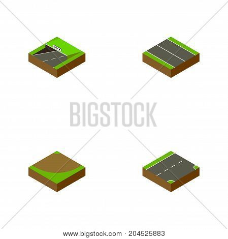 Isometric Road Set Of Subway, Flat, Turn And Other Vector Objects