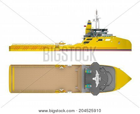 empty cargo ship isolated on white. 3d rendering