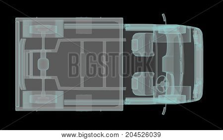 van radiographed by X-ray top view. 3d rendering