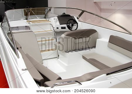 Interior of a modern pleasure boat.The internal structure.