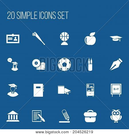 Set Of 20 Editable Science Icons. Includes Symbols Such As Championship, Graduation Hat, Propeller And More