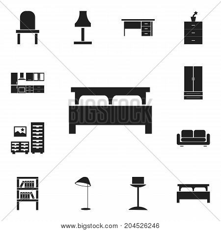 Set Of 12 Editable Furnishings Icons. Includes Symbols Such As Illuminant, Plant Pot, Cooking Furnishings And More