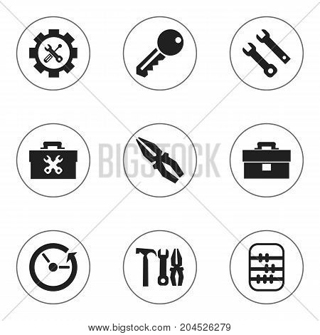 Set Of 9 Editable Toolkit Icons. Includes Symbols Such As Access, Time, Portfolio And More