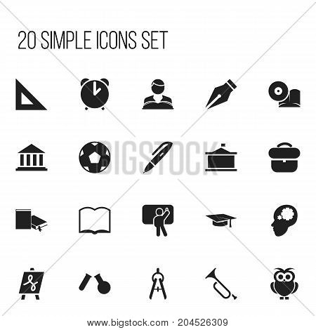 Set Of 20 Editable Science Icons. Includes Symbols Such As Phial, Tabulation, Teacher And More