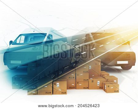 Vans ready for shipment in double exposure with a truck on the road. 3D Rendering