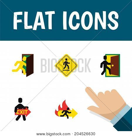 Flat Icon Exit Set Of Evacuation, Fire Exit, Open Door And Other Vector Objects