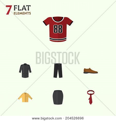 Flat Icon Dress Set Of Male Footware, Pants, Cravat And Other Vector Objects