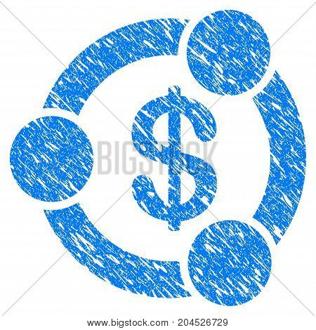 Grunge Financial Collaboration icon with grunge design and dirty texture. Unclean vector blue pictogram for rubber seal stamp imitations and watermarks. Draft emblem symbol.