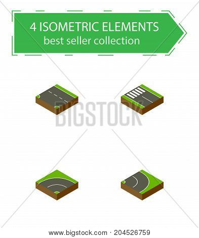 Isometric Way Set Of Downward, Strip, Asphalt And Other Vector Objects