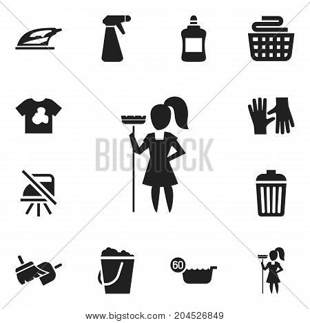 Set Of 12 Editable Cleaning Icons. Includes Symbols Such As Pail, 60 Degrees, Gauntlet And More