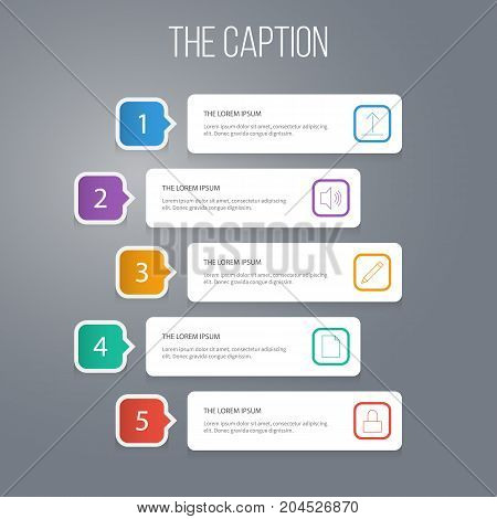 Outline Media Set Of Sound, Sheets, Padlock And Other Vector Objects