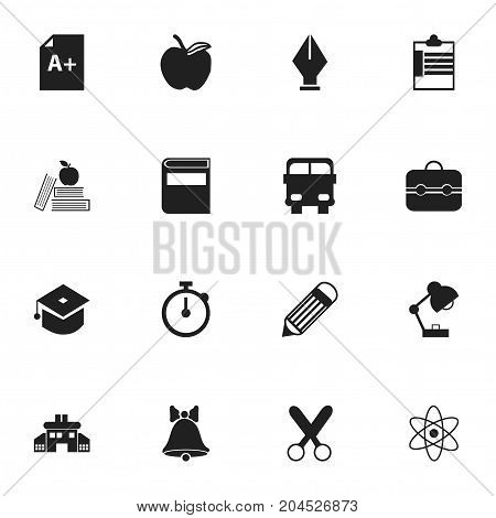 Set Of 16 Editable School Icons. Includes Symbols Such As Apple, Literature, Lighting And More