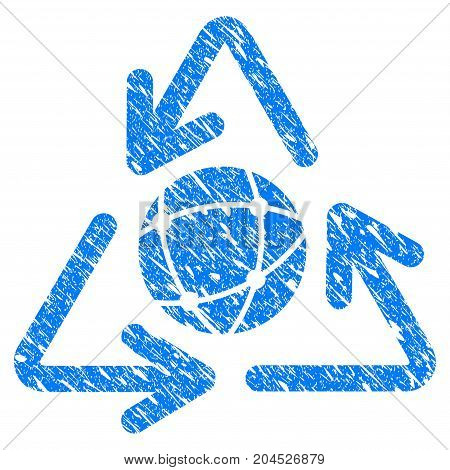Grunge Global icon with grunge design and unclean texture. Unclean vector blue pictogram for rubber seal stamp imitations and watermarks. Draft sign symbol.
