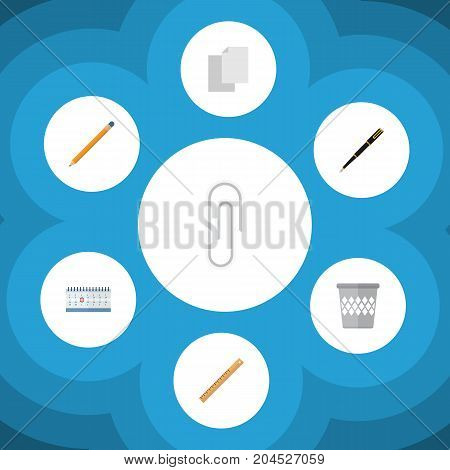 Flat Icon Tool Set Of Sheets, Straightedge, Date Block And Other Vector Objects