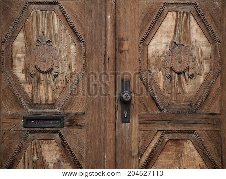 Vintage decorated wooden doors with old metal handle