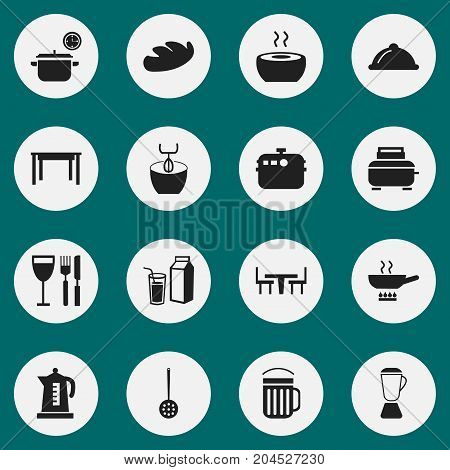 Set Of 16 Editable Kitchen Icons. Includes Symbols Such As Ale, Kettle, Tableware And More