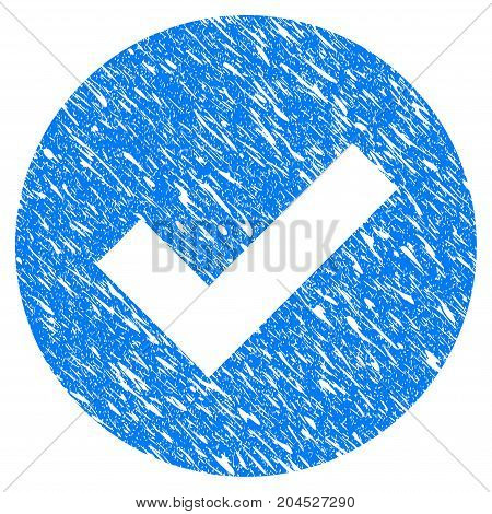 Grunge Ok icon with grunge design and dirty texture. Unclean vector blue pictogram for rubber seal stamp imitations and watermarks. Draft emblem symbol.