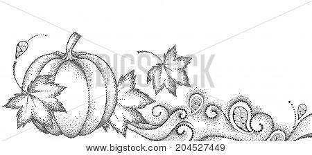 Vector autumn background with dotted maple leaves, swirls and pumpkin isolated on white background. Thanksgiving Day background. Horizontal composition in dotwork style for happy thanksgiving design.