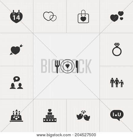 Set Of 13 Editable Heart Icons. Includes Symbols Such As Cake, Dear, Pastry And More