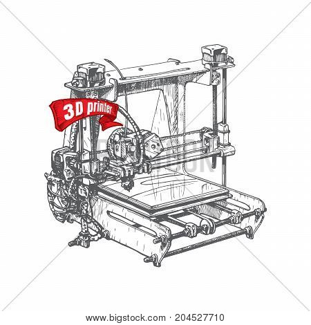 Vector illustration of a 3D printer stylized as engraving.