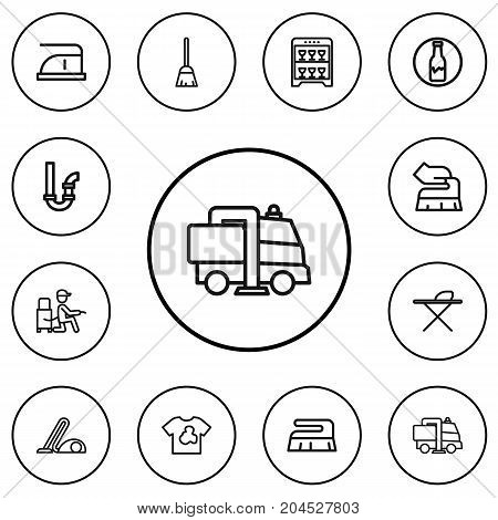 Set Of 12 Editable Hygiene Outline Icons. Includes Symbols Such As Dust, Badge, Metal Board And More