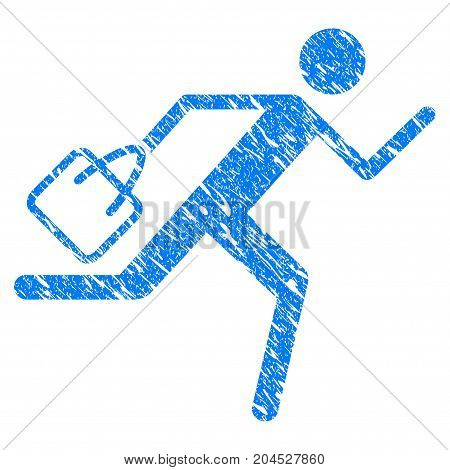 Grunge Shopping Running Man icon with grunge design and scratched texture. Unclean vector blue pictogram for rubber seal stamp imitations and watermarks. Draft emblem symbol.