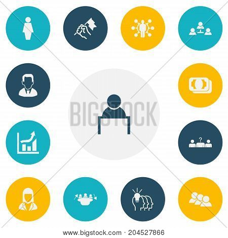 Set Of 13 Editable Business Icons. Includes Symbols Such As Meeting, Talent, Work Man And More
