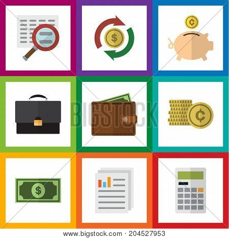 Flat Icon Finance Set Of Greenback, Interchange, Portfolio And Other Vector Objects