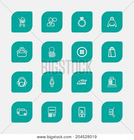 Set Of 16 Editable Shopping Outline Icons. Includes Symbols Such As Debit Card, Specie, Atm And More