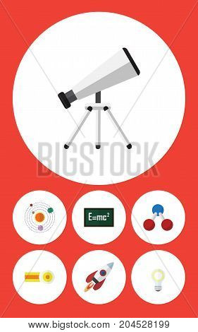 Flat Icon Study Set Of Milky Way, Scope, Nuclear And Other Vector Objects