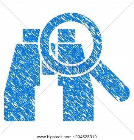 Grunge Binoculars Find Tools icon with grunge design and scratched texture. Unclean vector blue pictogram for rubber seal stamp imitations and watermarks. Draft emblem symbol.