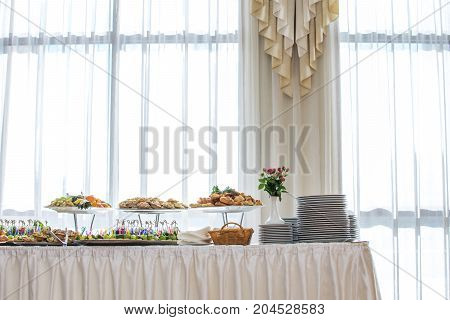 Delicacies and snacks at a buffet or Banquet. Catering. Selective focus.