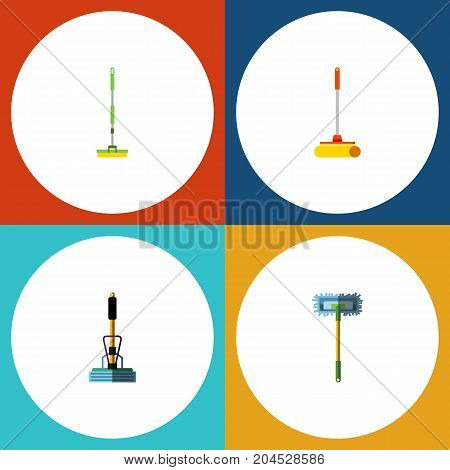 Flat Icon Cleaner Set Of Cleaner, Broom, Besom And Other Vector Objects
