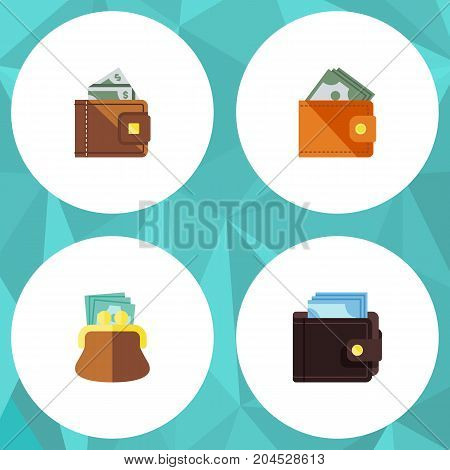 Flat Icon Billfold Set Of Pouch, Billfold, Finance And Other Vector Objects