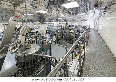 Brest, Belarus - July 05, 2017: Brest Distillery The bottling line of vodka