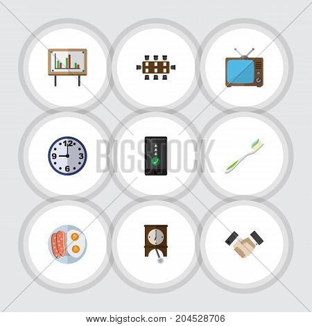Flat Icon Lifestyle Set Of Clock, Fried Egg, Television And Other Vector Objects