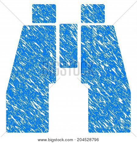 Grunge Find Binoculars icon with grunge design and dirty texture. Unclean vector blue pictogram for rubber seal stamp imitations and watermarks. Draft emblem symbol.