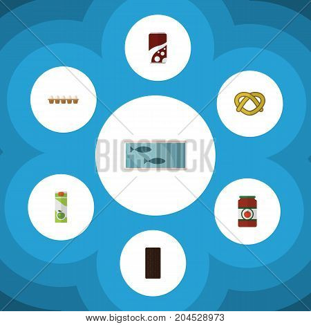 Flat Icon Eating Set Of Cookie, Fizzy Drink, Tin Tuna And Other Vector Objects