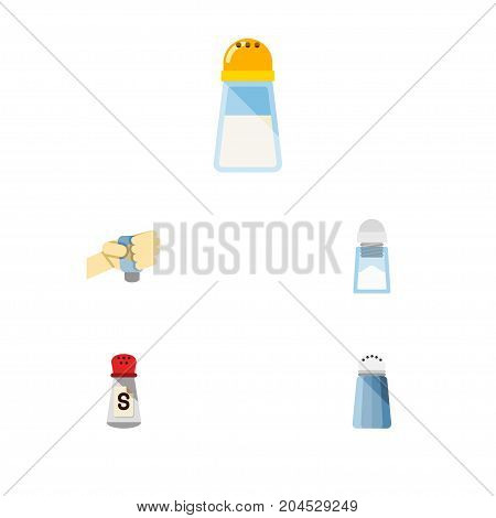 Flat Icon Sodium Set Of Saltshaker, Sodium, Spice And Other Vector Objects