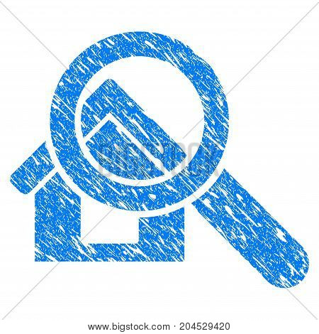 Grunge Search House icon with grunge design and dust texture. Unclean vector blue pictogram for rubber seal stamp imitations and watermarks. Draft sticker symbol.